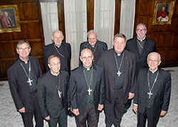 Eight Indiana bishops gather in May 2014 in Lafayette for a provincial meeting and a meeting with the executive director of the Indiana Catholic Conference. They are, from front left: Bishop Timothy L. Doherty of Lafayette; Bishop Charles C. Thompson of Evansville; Bishop Kevin C. Rhoades of Fort Wayne-South Bend; Archbishop Joseph W. Tobin, CSsR, of Indianapolis and Bishop Dale J. Melczek, of Gary. Behind them, from left to right, are Bishop Emeritus William L. Higi, of Lafayette; Bishop Emeritus Gerald A. Gettelfinger, of Evansville and Bishop Christopher Coyne, auxiliary bishop of Indianapolis. As they are retired, Bishops Gettelfinger and Higi were not signatories of this statement.